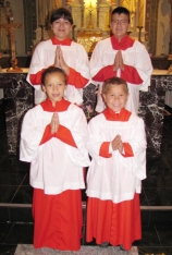 Front row: Lauren and Anthony. Back row: Magali and Allen - our altar servers