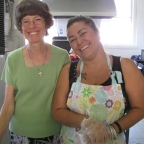 Susan and Gloria serving pancakes