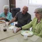 Margie, Don and Char share stories at the pancake breakfast