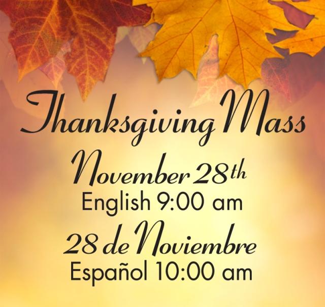 2013 Thanksgiving Mass Schedule