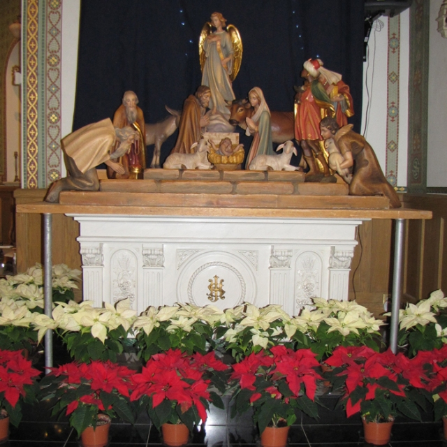 Christmas altar at Holy Rosary