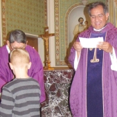Deacon Pablo and Monsignor congratulate Tim for serving at Holy Rosary