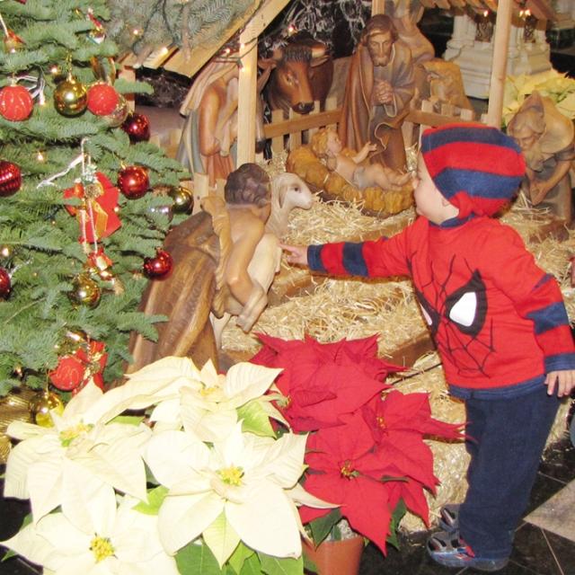 Children love our beautiful nativity scene