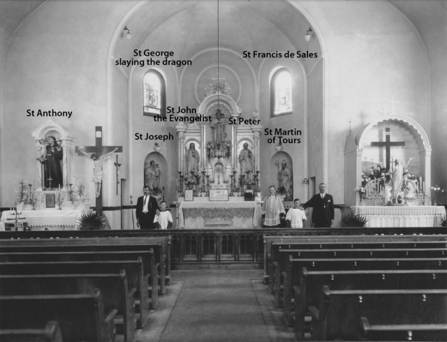 depiction of saints in windows and statues taken in 1921
