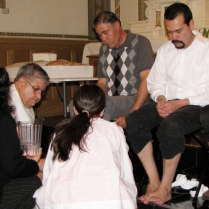Deacon Harold washing feet on Holy Thursday