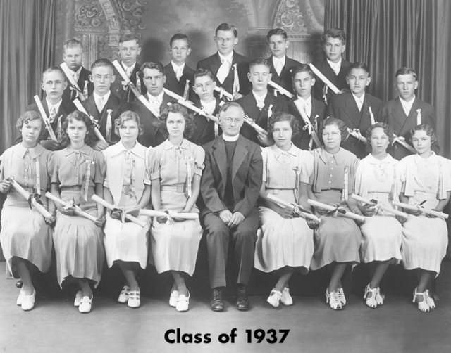 Father Canjar is the tallest student in the back row, class of 1937