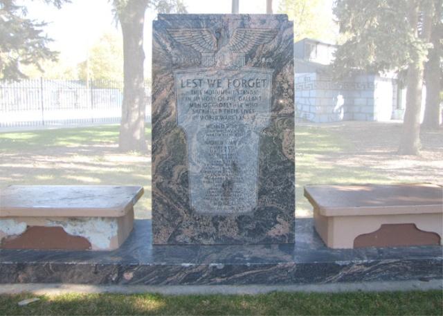 memorial in Argo Park honoring Globeville veterans who gave the ultimate sacrifice