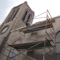 working on the south side of the church
