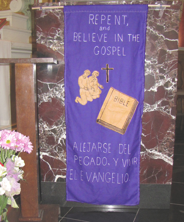 Romelia's beautiful banner urges us to repent