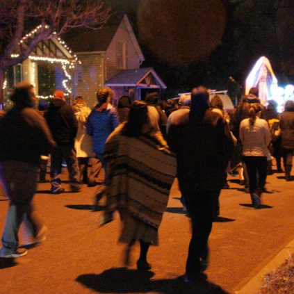A procession in honor of the VIrgin of Guadalupe
